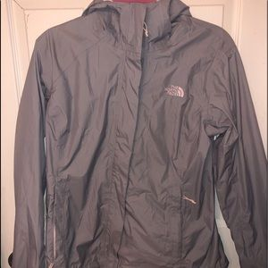 Gray north face rain jacket